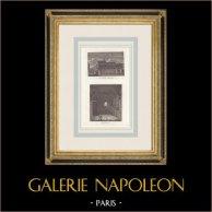 Palais des Thermes de Cluny - Thermes Romains - Couvent des Grands-Augustins - Paris (France)   Gravure originale en manière noire. Anonyme. 1808
