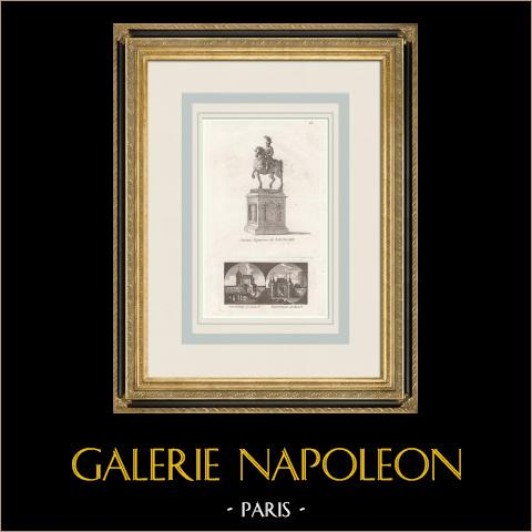 Estatua Ecuestre de Luis XIII - Porte du Temple - Porte St-Antoine (Paris) | Grabado a la manera negra original. Anónimo. 1808