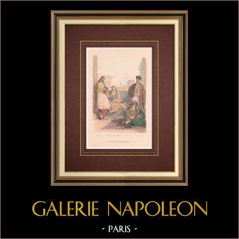 Costume de Grèce et Turquie - Palikare - Pacha - Femme grecque - Arménien | Gravure originale en taille-douce sur acier dessinée par Philippoteaux, gravée par Pierre. 1859