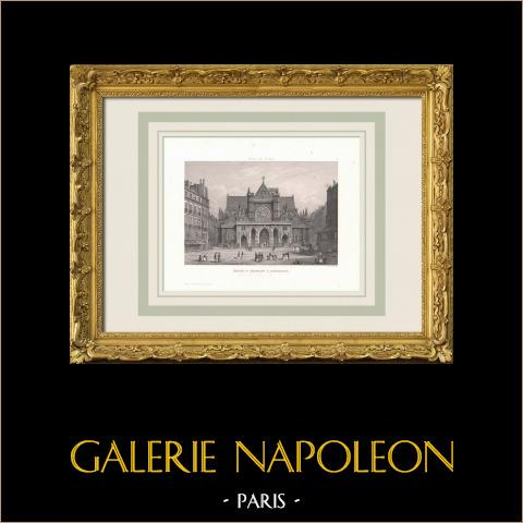 View of Paris -  Le Panthéon - Pediment - Historic Monument | Original steel engraving. Anonymous. 1850