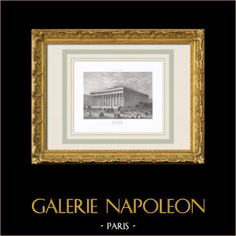 Vista de París - Palacio Brongniart - Palacio de la Bolsa de París - Palais Brongniart (Francia) | Grabado original en talla dulce sobre acero. Anónimo. 1850