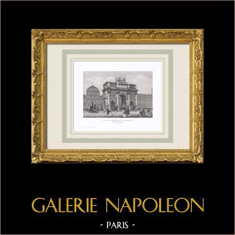 View of Paris - Arc de Triomphe du Carrousel - Napoleon Bonaparte - Historic Monument | Original steel engraving. Anonymous. 1850