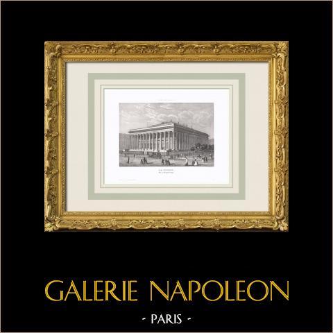 Vista de Paris - Bolsa de Paris - Palácio Brongniart - Palácio da Bolsa - Palais Brongniart (França) | Gravura original em talho-doce sobre aço. Anónima. 1850