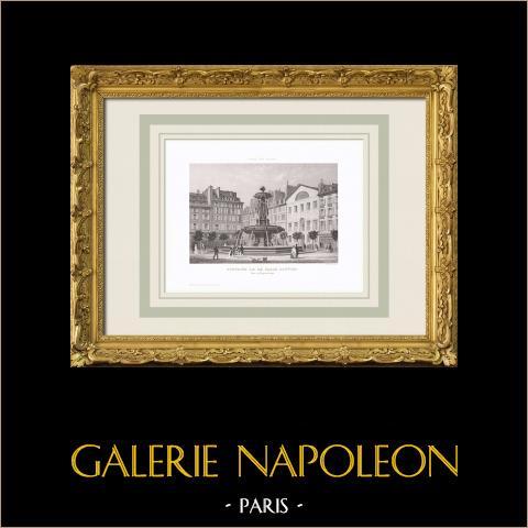 Vista de Paris - Fonte Louvois - Place Louvois (2º Arrondissement de Paris)   Gravura original em talho-doce sobre aço. Anónima. 1850