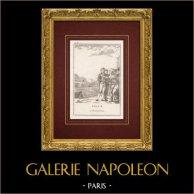 Fables de La Fontaine - L'Inondation | Gravure sur cuivre originale. Anonyme. 1780
