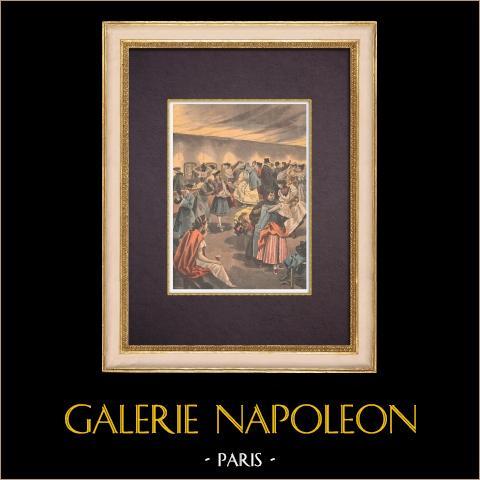 Tradición - Bœuf Gras - Carnaval de Paris - Preparados (1896) | Grabado xilográfico original impreso en cromotipografia dibujado por Meaulle, grabado por Tofani. Reverso impreso. 1896
