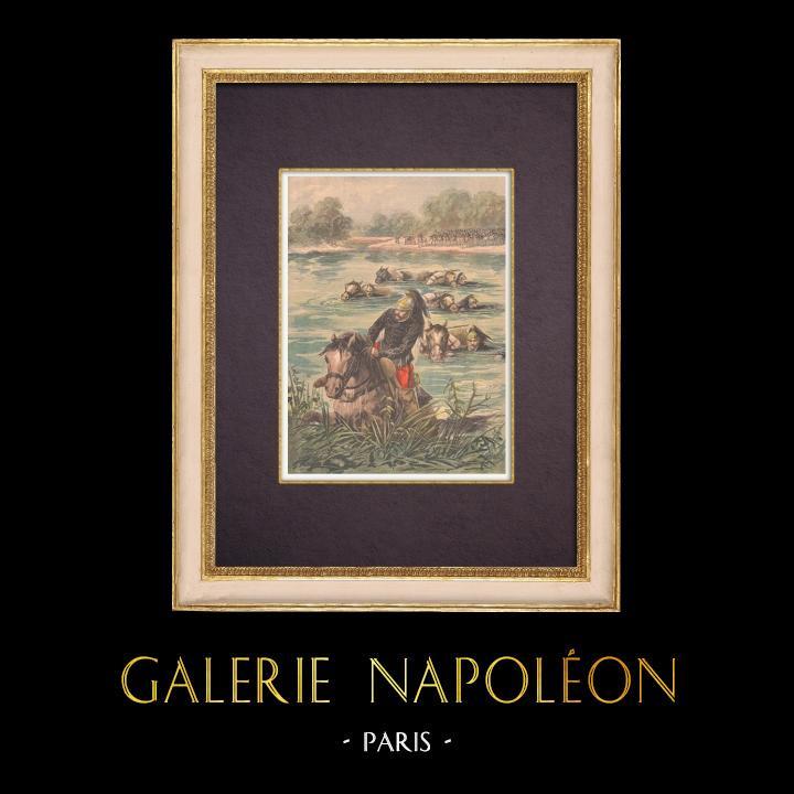 Gravures Anciennes & Dessins | Exercice militaire - La Cavalerie traverse la rivière - XIXème Siècle | Gravure sur bois | 1896