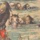 DÉTAILS 04 | Exercice militaire - La Cavalerie traverse la rivière - XIXème Siècle