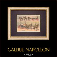 Equipage de gala - Saddled horses - Carriage - Chariot - France - XIXth Century