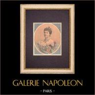 Portrait de Amélie d'Orléans, reine consort du Portugal (1865-1951) | Gravure sur bois imprimée en chromotypographie. Anonyme. Texte au verso. 1896