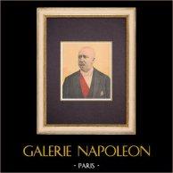 Portrait de Félix Faure - Président de la République française (1841-1899) | Gravure sur bois imprimée en chromotypographie. Anonyme. Texte au verso. 1899