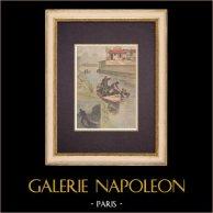Meurtre à Choisy-le-Roi - Ile de France (1899) | Gravure sur bois imprimée en chromotypographie gravée par Meyer. Texte au verso. 1899