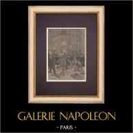 Incident du Grand Prix automobile - Bagarre à Paris (1899) | Gravure sur bois imprimée en chromotypographie. Anonyme. Texte au verso. 1899