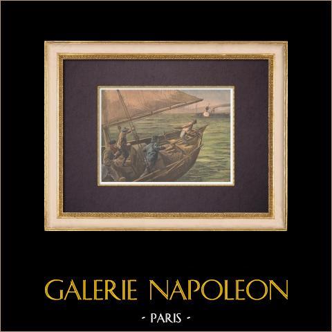 Un bateau de pêche français attaqué par une canonnière anglaise (1899) | Gravure sur bois imprimée en chromotypographie gravée par Tofani. Texte au verso. 1899
