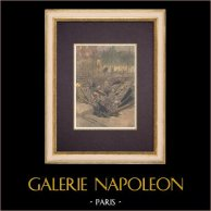 Incidente - Frana Place de l'Étoile a Parigi (1899) | Incisione xilografica originale stampata in cromotipografia incisa da Tofani. Retro stampato. 1899