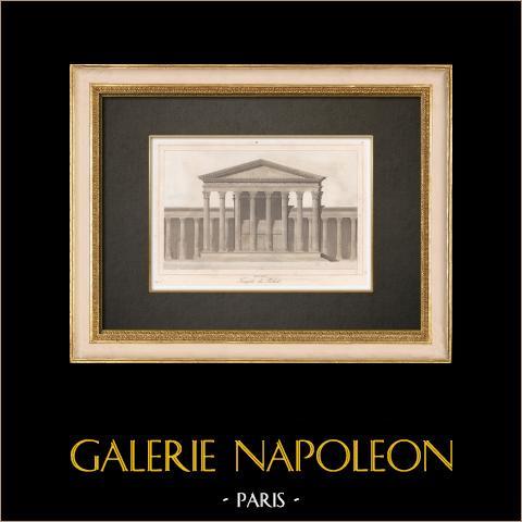 Ruderi di Palmira - Tempio del Sole - Monumento Romano (Siria) | Stampa calcografica originale a bulino su acciaio. Anonima. Acquerellata a mano. 1845