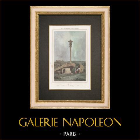 Cruz y Dolmen cerca de Carnac - Megalito - Bretaña  (Francia) | Grabado original en talla dulce sobre acero dibujado por Danvin, grabado por Cholet. Agua-coloreado a mano. 1845