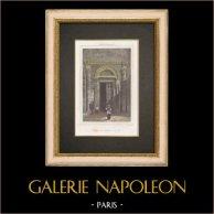 Cattedrale - Duomo di Aix-en-Provence - Battistero - Portico (Francia) | Stampa calcografica originale a bulino su acciaio disegnata da Gaucherel. Acquerellata a mano. 1845