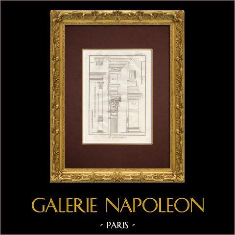 Encyclopédie Méthodique - Plate 1 - Architecture - Capitals - Architectural Order | Original copper engraving. Anonymous. 1787