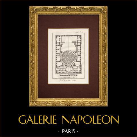 Encyclopédie Méthodique - Planche 4 - Théâtre - Comédie-Française - Plafonds | Gravure sur cuivre originale. Anonyme. 1787
