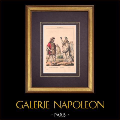 Modes et Costumes Français - Gaulois - Habitant de la Gaule Belgique - Druide | Lithographie originale. Anonyme. Aquarellée à la main. 1838