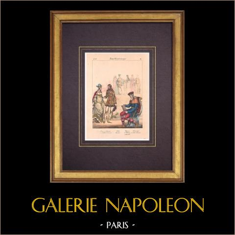Französische Mode und Kostüme - VIII. Jahrhundert - Prinz - Prinzessin - Karl der Große | Original lithografie. Anonym. Handaquarelliert. 1838