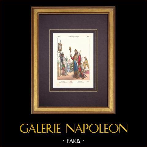 Francuska Moda i Kostiumy - VIII Wiek - Zbrojny Szef - Karol Wielki - Biskup |