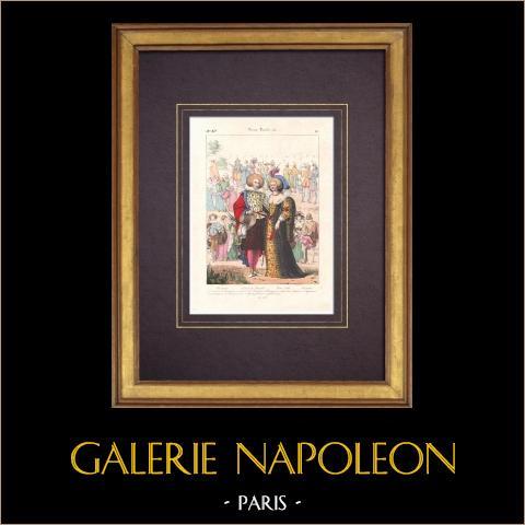Modes et Costumes Français - XVIème Siècle - Antoine de Bourbon - Noblesse - Courtisans | Lithographie originale. Anonyme. Aquarellée à la main. 1838