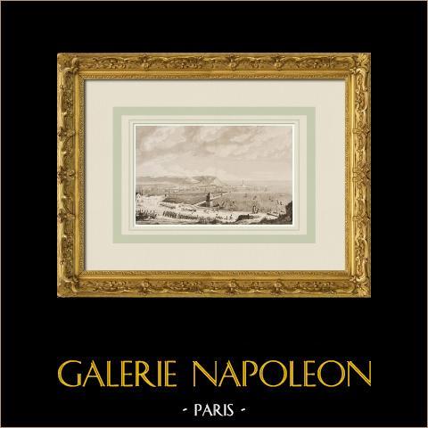 Guerres napoléoniennes - Port de Boulogne - Départ de la flotille (août 1803)  | Gravure à l'eau-forte originale dessinée par Baugean, gravée par Couché. 1855