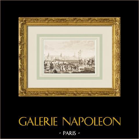 Napoleon och hans armé kommer i Wien (1805) | Original etsning efter teckningar av Le Compte, graverade av Pigeot. 1855
