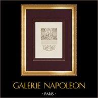 Ritratto di Jean-Baptiste Colbert (1619-1683) - Putti alati - Arti | Stampa calcografica originale a bulino su acciaio disegnata da Marillier, incisa da Ponce. Ampi margini. 1850
