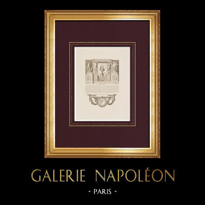 Gravures Anciennes & Dessins | Portrait de Pierre Puget (1620-1694) - Sculptures, Jardin Château de Versailles | Taille-douce | 1850