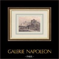 Vue de Tallard - Château - Chapelle castrale - Hautes-Alpes (France) | Lithographie originale dessinée par Debelle, lithographiée par Pegeron. Rousseurs. 1835