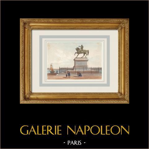 Vista de Cherbourg - Estatua ecuestre de Napoleón I - Mancha (Francia) | Litografía original dibujado y litografiado por Mercereau & Deroy. Agua-coloreado a mano. 1866