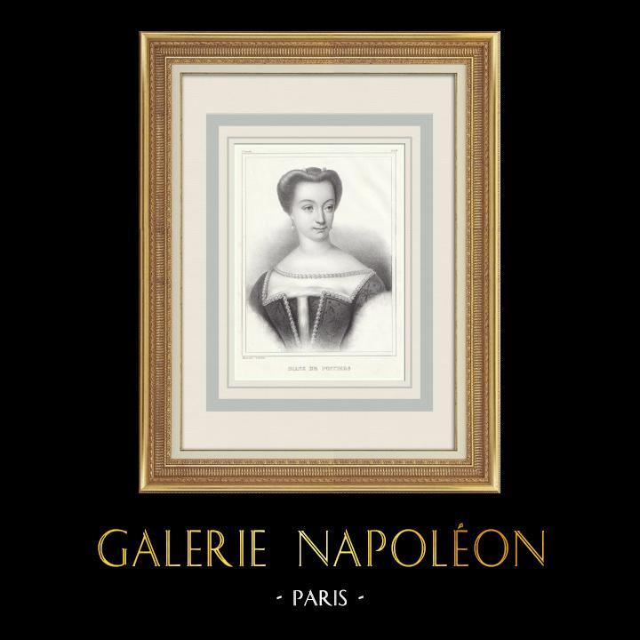 Grabados & Dibujos Antiguos | Retrato de Diana de Poitiers (1500-1566) | Litografía | 1839