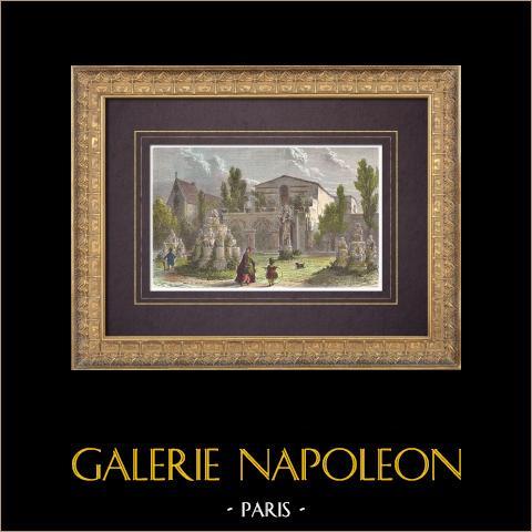 Vista de Paris - Palais des Thermes de Cluny - Termas de Juliano - Paris (França) | Xilogravura original desenhada por Girardet, gravada por Etherington. Aquarelada a mão. 1864