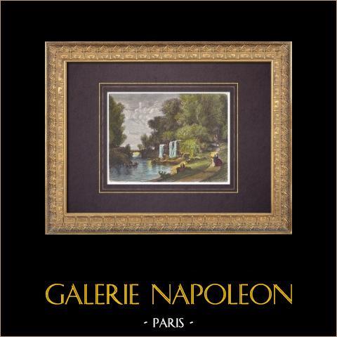 Vista de Paris - Parque - Bosque de Vincennes - Lago de Minimes (França) | Xilogravura original desenhada por Anastasi, gravada por Jonnard. Aquarelada a mão. 1864