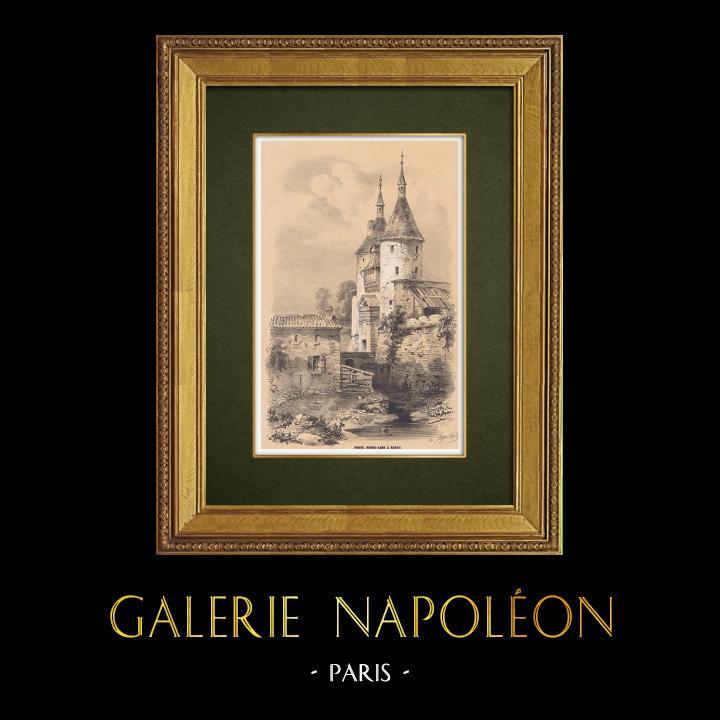 Gravures Anciennes & Dessins   Vue de Nancy - Porte de la Citadelle - Meurthe-et-Moselle (France)   Lithographie   1856