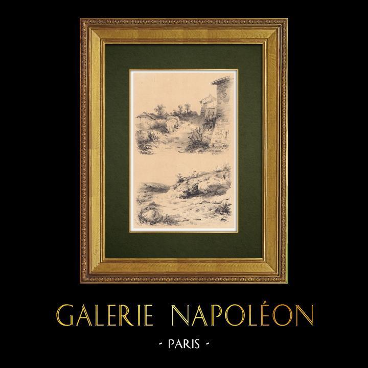 Gravures Anciennes & Dessins   Paysages de Lorraine - Chaumière - Rochers (France)   Lithographie   1856