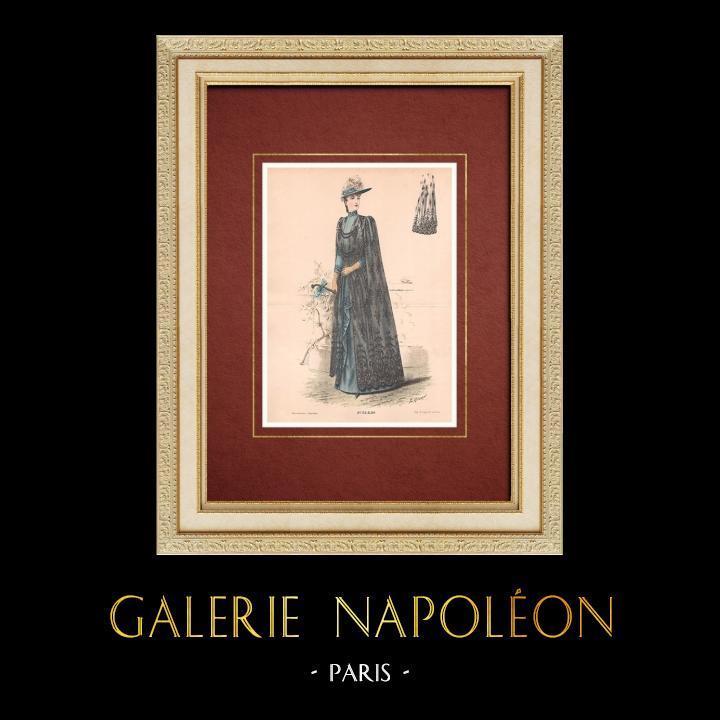 Gravures Anciennes & Dessins | Gravure de Mode - Paris - La Couturière - 1889 - Modèle 32 | Lithographie | 1889