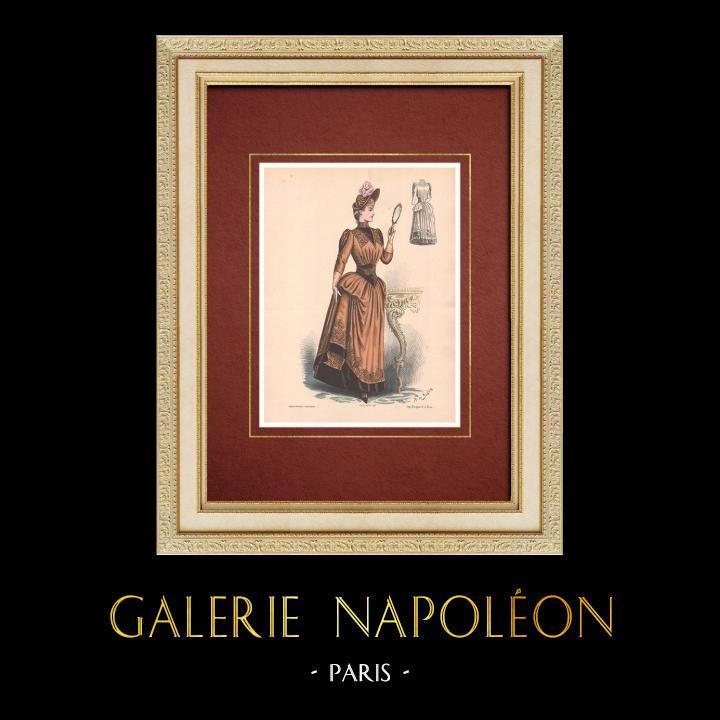 Gravures Anciennes & Dessins   Gravure de Mode - Paris - La Couturière - 1888 - Modèle 353   Lithographie   1888