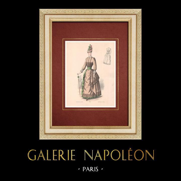 Gravures Anciennes & Dessins   Gravure de Mode - Paris - La Couturière - 1888 - Modèle 296   Lithographie   1888