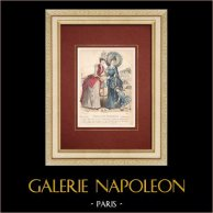 Gravure de Mode - Paris - Mme Pelletier Vidal - Compagnie des Indes   Gravure originale en taille-douce sur acier dessinée par A. Chaillot. Aquarellée à la main. 1887