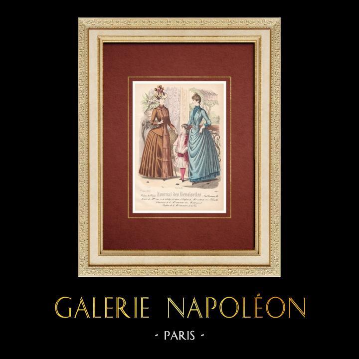 Gravures Anciennes & Dessins | Gravure de Mode - Paris - Mme Turle - Lea Berger - Kahn Poivret | Taille-douce | 1887