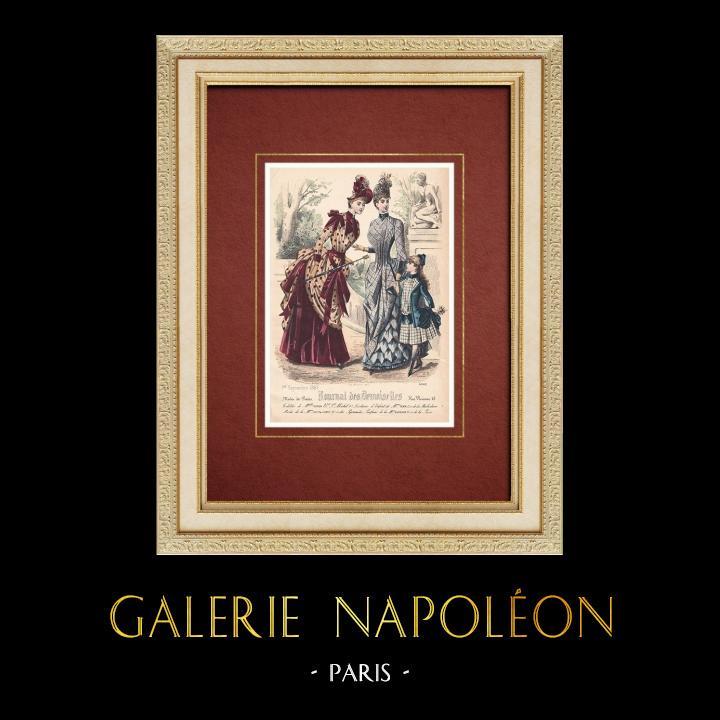 Gravures Anciennes & Dessins | Gravure de Mode - Paris - Melle Thirion - Mme Taskin - Lucy & Ligney | Taille-douce | 1887