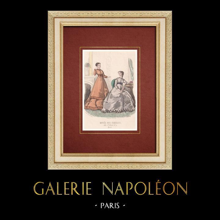 Gravures Anciennes & Dessins | Gravure de Mode - Paris - Musée des Familles - Novembre 1867 | Taille-douce | 1866