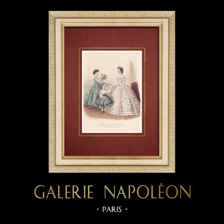 Gravures Anciennes & Dessins   Gravure de Mode - Paris - Journal des Demoiselles   Taille-douce   1860