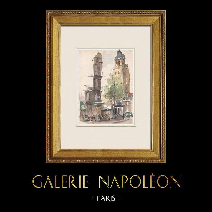 Gravures Anciennes & Dessins | Vue de Paris - Le Café Les Deux Magots - Abbaye de Saint-Germain-des-Prés (France) | Aquarelle | 1952