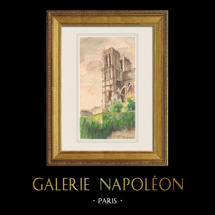 Gravures Anciennes & Dessins | Vue de Paris - Cathédrale Notre Dame de Paris (France) | Aquarelle | 1952