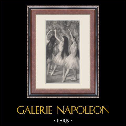 Ballet - Bailarinas - Danseuses Vertes (Edgas Degas) | Heliograbado original según Edgar Degas. 1933